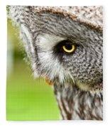 Great Gray Owl Close Up Fleece Blanket