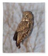 Great Grey Owl Fleece Blanket
