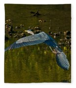 Great Heron Over Oyster Beds Fleece Blanket