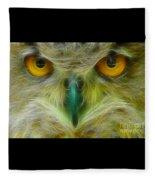 Great Horned Eyes Fractal Fleece Blanket