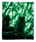 Great Horned Owl And Owlet Fleece Blanket