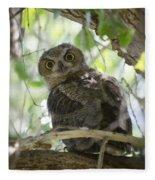 Great Horned Owl Fledgling  Fleece Blanket