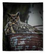 Great Horned Owl On Nest Fleece Blanket