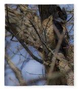 Great Horned Owl On Watch Fleece Blanket