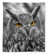 Great Horned Owl V9 Fleece Blanket