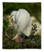 Great Egret Takes A Stance Fleece Blanket