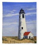 Great Point Lighthouse Nantucket Massachusetts Fleece Blanket
