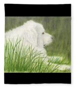 Great Pyrenees Dog In Grass Animal Pets Canine Art Fleece Blanket