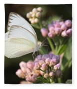 Great Southern White Butterfly On Pink Flowers Fleece Blanket