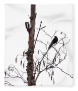 Great Spotted Woodpecker And A Blackbird. Dude What Are You Doing Fleece Blanket