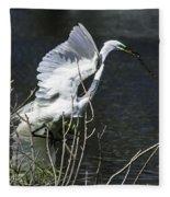 Great White Egret Building A Nest V Fleece Blanket