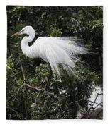 Great White Egret Building A Nest Vii Fleece Blanket
