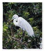 Great White Egret Building A Nest Viii Fleece Blanket