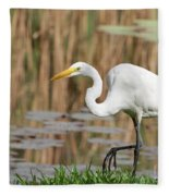Great White Egret By The River Too Fleece Blanket