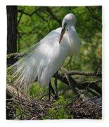 Great White Egret Primping Fleece Blanket