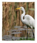 Great White Egret Taking A Stroll Fleece Blanket