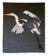 Greater Egret Landing Fleece Blanket