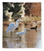 Greater Egret Lesser Egret And Coot Fleece Blanket