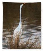 Greater Egret Posturing Fleece Blanket