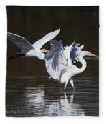 Greater Egrets Meet Up  Fleece Blanket