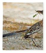 Greater Roadrunner With Nest Material Fleece Blanket
