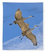 Greater Sandhill Cranes In Flight Fleece Blanket