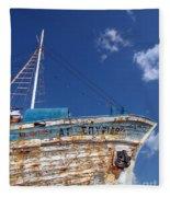 Greek Fishing Boat Fleece Blanket