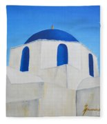 Greek Island Church  Fleece Blanket