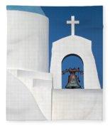 Greek Island Church Fleece Blanket