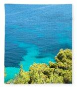 Greek Sea View Fleece Blanket
