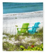 Green And Blue Chairs Fleece Blanket
