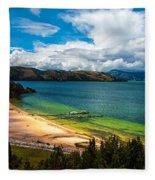 Green And Blue Lake Fleece Blanket