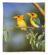 Green And Gold - Yellow-billed Kingfishers Fleece Blanket