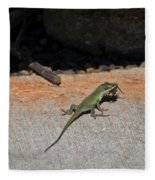 Green Anole Lizard Vs Wolf Spider  Fleece Blanket