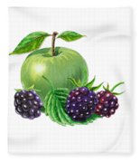 Green Apple With Blackberries Fleece Blanket