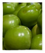 Green Apples On Display At Farmers Market Fleece Blanket