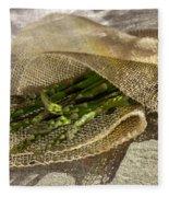 Green Asparagus On Burlab Fleece Blanket