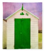 Green Beach Hut Fleece Blanket