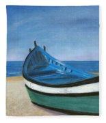Green Boat Blue Skies Fleece Blanket