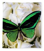 Green Butterfly On White Roses Fleece Blanket