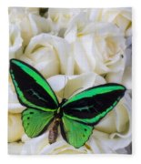 Green Butterfly With White Roses Fleece Blanket