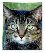 Green Cat Eyes In Summer Grass Fleece Blanket
