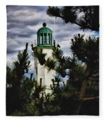 Green Copper Lantern Room On Scituate Lighthouse Fleece Blanket
