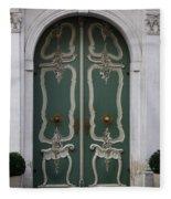 Green Door In Gdansk Fleece Blanket