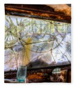 Green Drinking Glass And Smoky Bronken Windshield Fleece Blanket