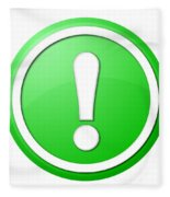 Green Exclamation Point Button Fleece Blanket