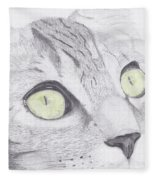 Green Eyed Cat Fleece Blanket