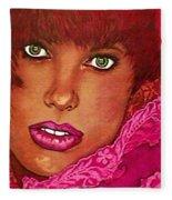 Green Eyed Redhead Fleece Blanket