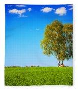 Green Field Landscape With A Single Tree Fleece Blanket
