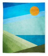 Green Fields Blue Waters Fleece Blanket